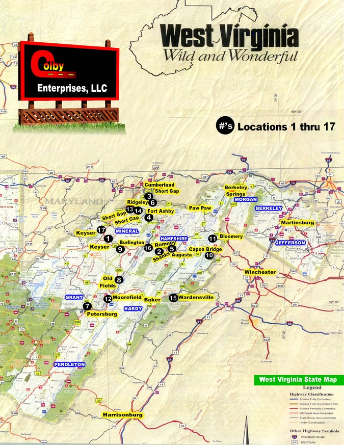 Outdoor Advertising Colby Enterprises LLC Moorefield WV WV Map - Map wv